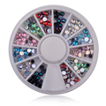 New 3mm Nail Art Glitter Rhinestone Wheel Mix 6 colors Charm 3d Nail Beads DIY Decoration Manicure Nail Design Tools