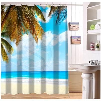 U419 74 Custom Home Decor Sea Ocean Beach Huts Palm Trees Fabric ...