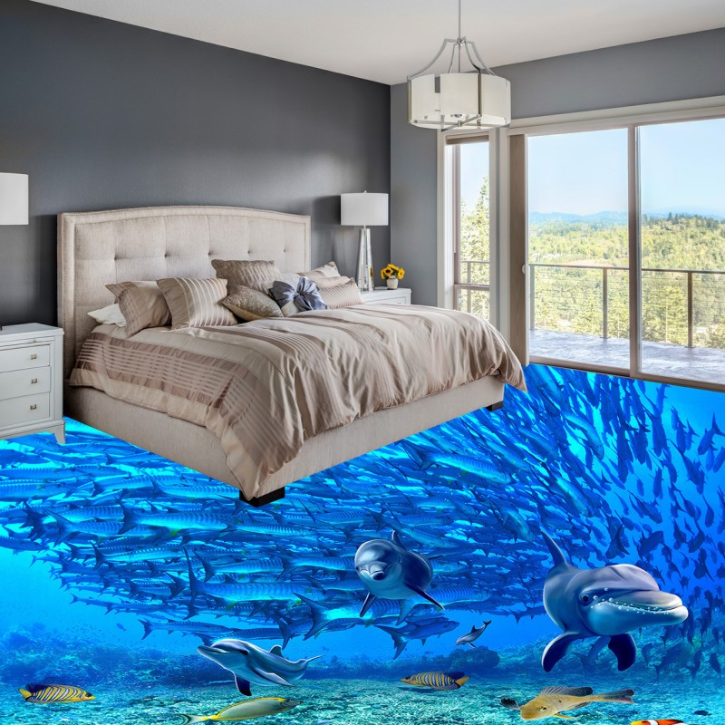 Free shipping custom floor waterproof self-adhesive photo wallpaper mural Underwater World 3D dolphin background wall