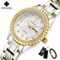 WWOOR новые золотые женские часы-браслет водонепроницаемые женские часы из нержавеющей стали повседневные женские кварцевые часы женские Reloj...