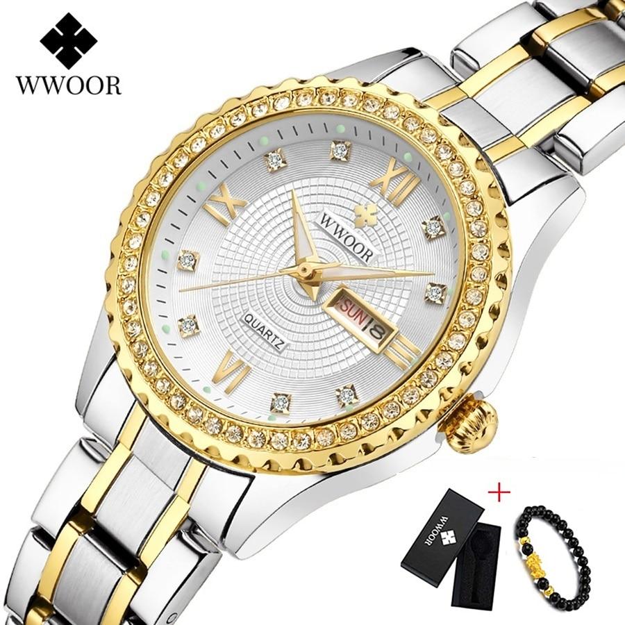 WWOOR New Gold Women Bracelet Watches Waterproof Ladies Watch Stainless Steel Casual Dress Woman Quartz Watch Women Reloj Mujer