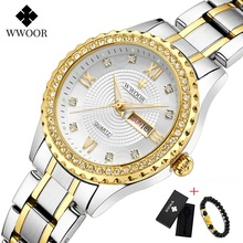 цена WWOOR New Gold Women Bracelet Watches Waterproof Ladies Watch Stainless Steel Casual Dress Woman Quartz Watch Women Reloj Mujer онлайн в 2017 году
