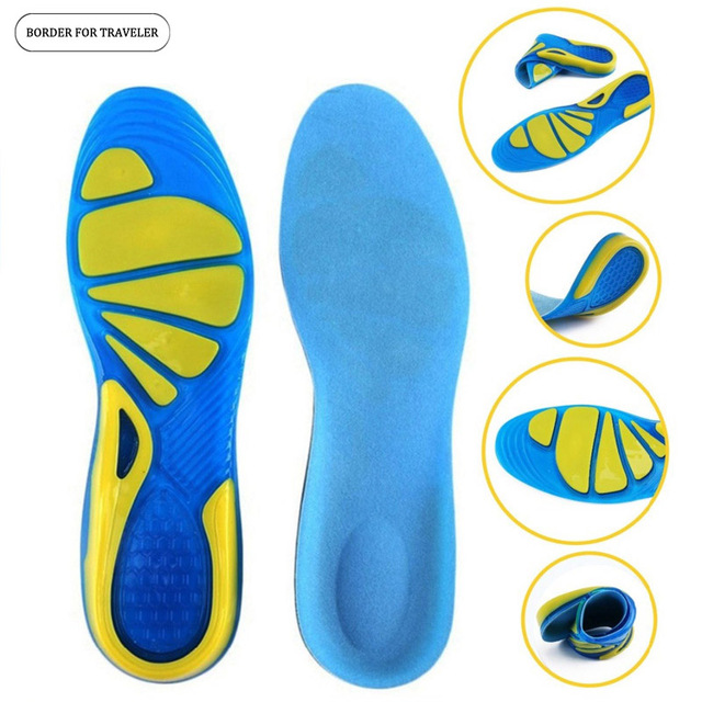 0e1d4ab6bf BORDER FOR TRAVELER Silicone Gel Insoles Foot Care for Plantar Fasciitis  Heel Spur Sport Shoe Pad