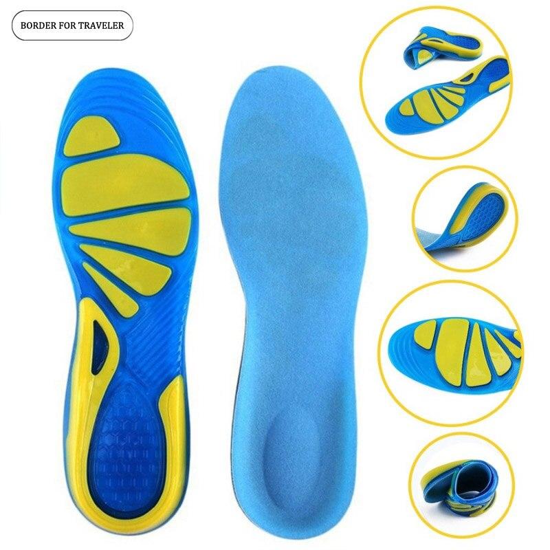 GRENZE FÜR REISENDE Silikon-gel-einlegesohlen Fußpflege für Plantar Fasciitis Fersensporn Sport Foam-schuh-auflage-einlegesohlen Arch Orthopädische Innensohle