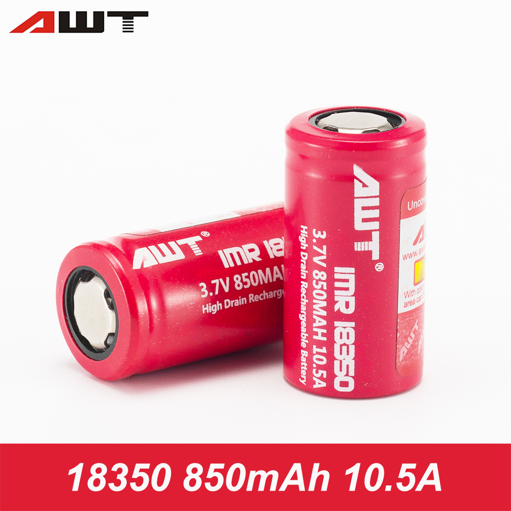 AWT 18350 Battery 850mAh Li-ion Rechargeable Battery 18350 850mAh 10.5A For Flashlight Tools Toys Drills W067