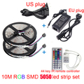 LED Ribbon RGB 10m led strip SMD 5050 Waterproof led ribbon 600 Led Lights + 44 Keys IR Remote+12V 6A power supply free shipping