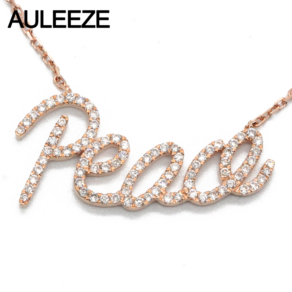 AULEEZE Gold Diamond Peace Pendant 18K Solid Rose Gold Real Natural Diamond Pendant Necklace Fine Jewelry Gold Chain