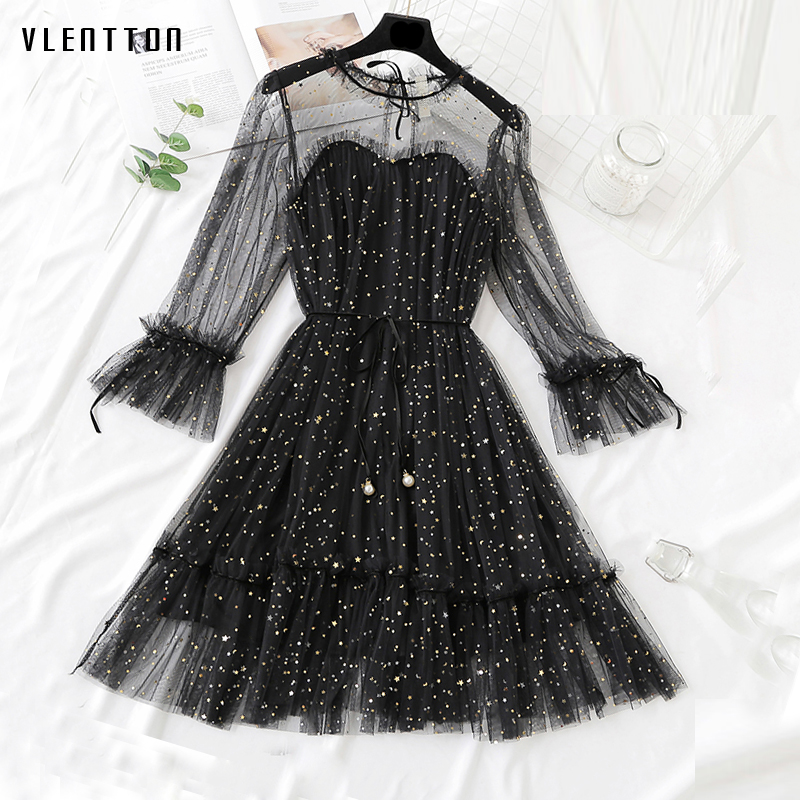 New Sequin evening party dresses Spring summer 2019 Casual Long Sleeve A-Line Mesh long dress elegant lace dress woman Vestidos