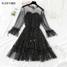 New Sequin evening party dresses Spring summer 2019 Casual Long Sleeve A-Line Mesh midi dress elegant lace dress woman Vestidos long sleeved dress women 2019 spring summer new simple stripes turn down collar slim a line casual elegant dress midi s xl