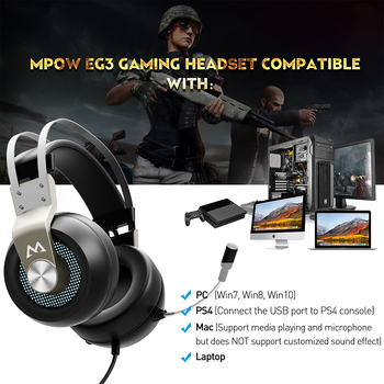 Mpow EG3 Gaming Headset USB Wired Over-ear Gaming Headphones With Microphone & Volume Control&Soft Earmuffs For PC/PS4 PC Game