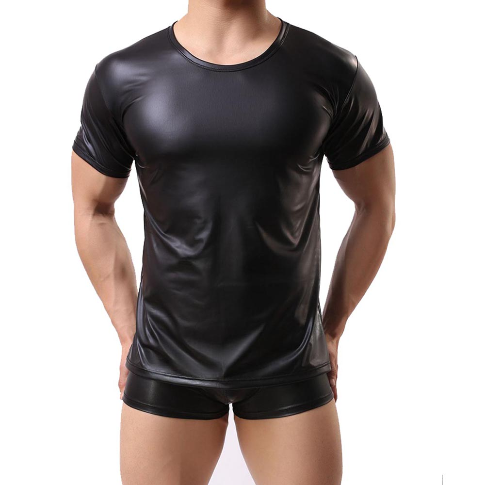 PU Leather T Shirts Men Sexy Fitness Tops Gay T-shirt Tees Mens Stage Wetlook Faux Leather Short Sleeve Sexy Men Gothic Top