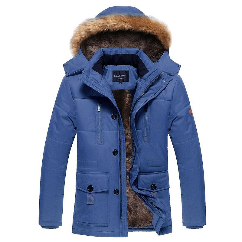 2017 in the long section of cotton men's casual jacket size man warm cotton cashmere coat with thickened collars removable sky blue cloud removable hat in the long section of cotton clothing 2017 winter new woman