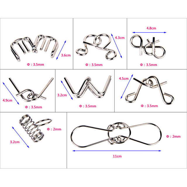 Montessori Materials 8pcs/set Metal Wire Puzzle IQ Mind Brain Teaser Puzzles Game For Adults And Kids Eeducational Toy