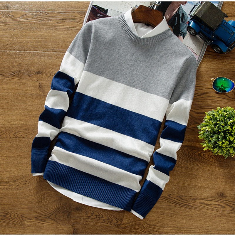 Striped Knitting Cashmere Sweater New Fashion Men's Pullover Drop Shipping Sweaters Long Sleeve O-Neck Christmas Top Clothes