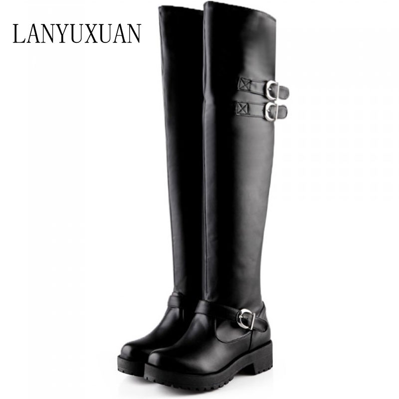 LANYUXUAN winter new thick heel boots size 34-43   over knee high boots round toe waterproof fur warm platform shoes women 5915 women round toe thick heel ankle boots woman new fashion platform martin botas winter warm fur footwear shoes size 34 43