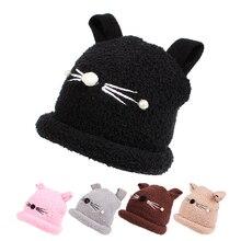 Terciopelo bebé Niñas sombrero con orejas de gato Otoño Invierno Niños  sombrero sólido bebé gorros para Niñas historieta recién . d47a3287bd0