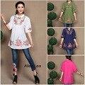 Горячие Продажи новая мода Китайский традиционный блузка костюмы этнические цветок вышивка воротник рубашки дизайн бренда вершины для женщин
