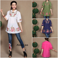Hot Sale New Fashion Chinese Traditional Blouse Costumes Ethnic Flower Embroidery Stand Collar Shirt Brand Design
