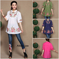 Hot Sale new fashion Chinese traditional blouse costumes ethnic flower embroidery stand collar shirt brand design tops for women