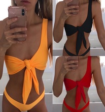 2019  Front Knotted Tie Bikini Solid Sexy Bikini Set Thong Swimwear  One shoulder Padded Push up Bra Low Waist Bathing Suit bule sexy self tie swimwear with padded chest