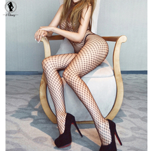 2017 Sexy Lace Neck Fishnet Body Stocking Sexy Lingerie Nets Sex Costumes Mesh Fishnet Open Crotch Bodystocking plus size ST130(China)