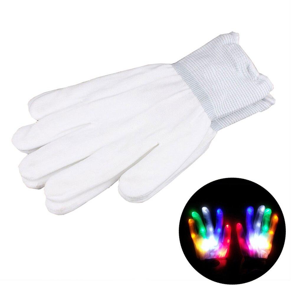 1 пара супер яркие перчатки со светодиодами для вечерние диско DJ для праздника фестиваль светодиодные перчатки светящиеся легкие перчатки Забавный дом - Цвет: Цвета