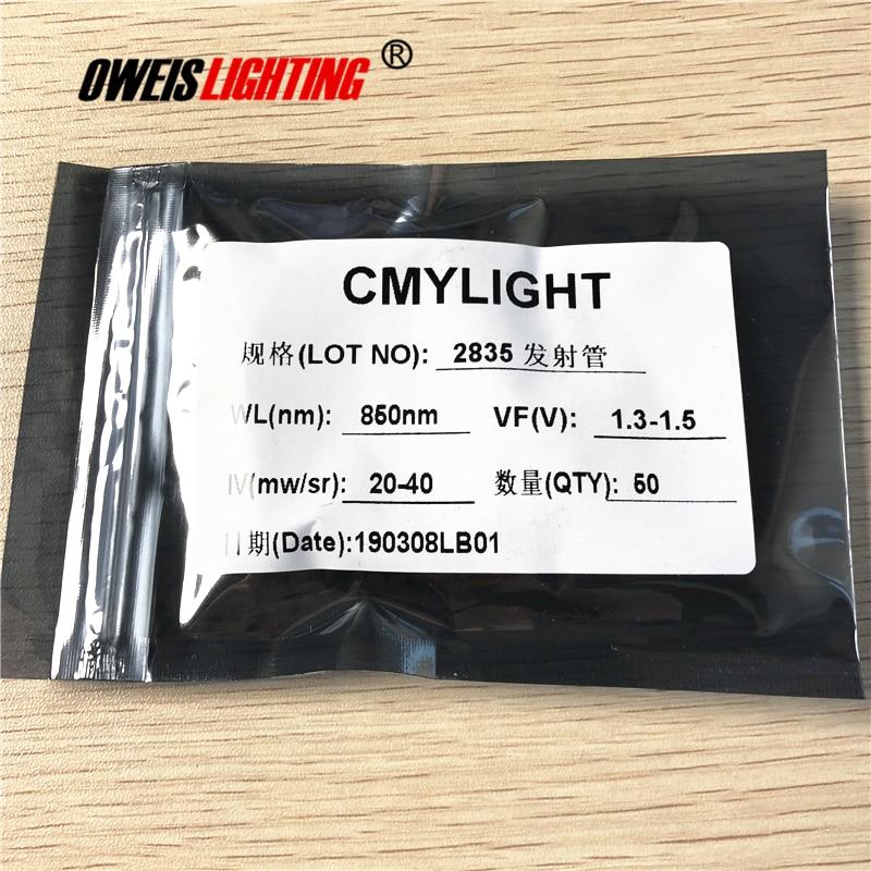 50PCS 2835 850NM (28-30mW) / 940NM (18-20mW) SMD LED  IR LEDs 20mA 1.3-1.5v 2.8*3.5mm Infrared Emitting LED Free Shipping