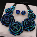 New Arrival High Quality Fashion Necklaces Big Blue Resin Flower Necklaces & Pendants Chunky Statement Necklace for Women X1629