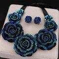 Nova Chegada da Alta Qualidade Da Moda Colares Big Azul Resina Flor Colares & Pingentes Chunky Colar Apelativo para As Mulheres X1629