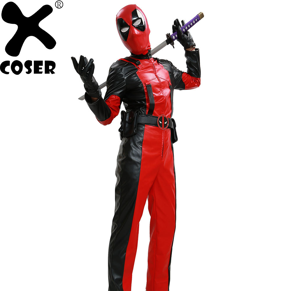 Здесь продается  XCOSER Deadpool Movie Cosplay Costume Men Women Cool Cosplay Props Costume Full Sets Jumpsuits+Black Gloves+Belts With 6 Bags  Одежда и аксессуары