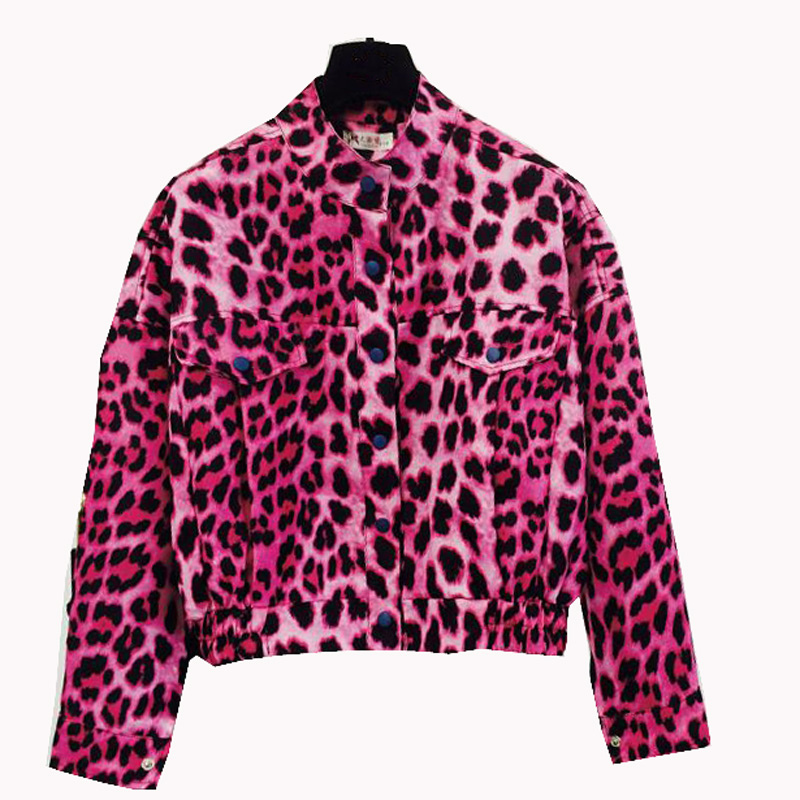 Womens Fashion Europe Streetwear Style Pink Leopard Personality Retro Crop Short Jacket Coats Outerwear Women Loose Coat ...