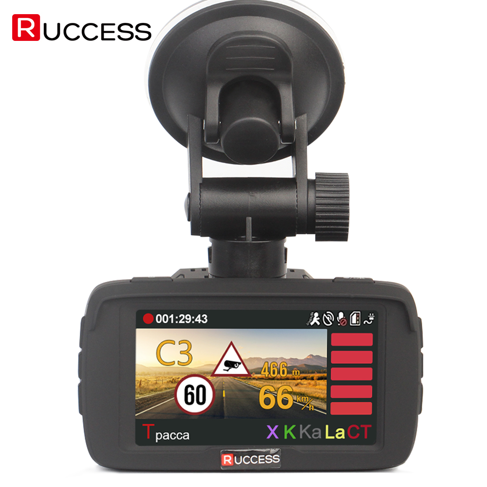 RUCCESS Auto DVR Radar Detector GPS 3 in 1 Auto-Macchina Fotografica del rivelatore Full HD 1296 P Autovelox Anti Radar Rivelatori Dash Cam 1080 p WDR