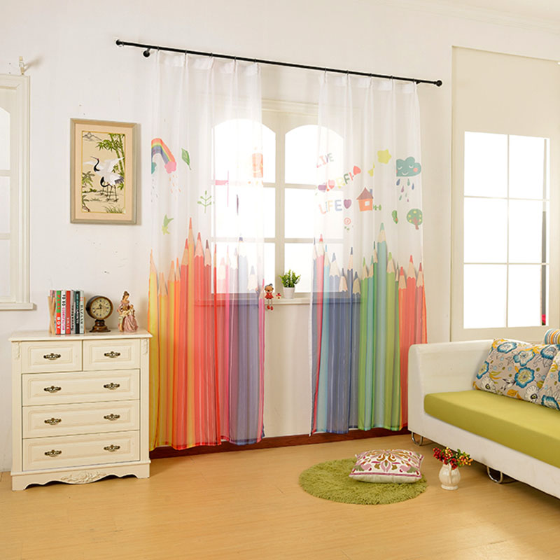 2017 Colorful Pencil Ready Made Made Kids 3d Tulle Curtains N For For Living Room Children