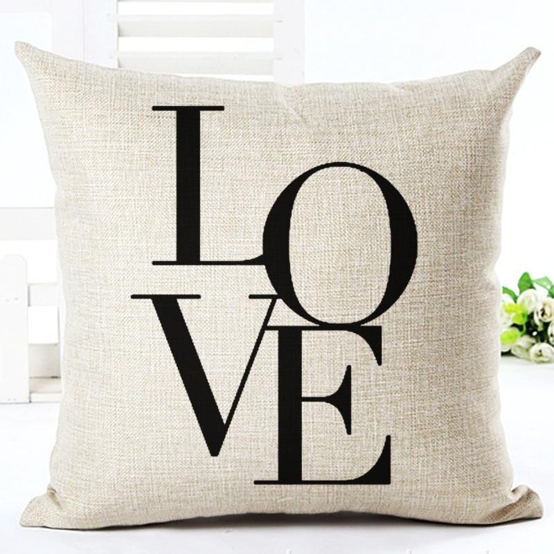 Fashion style cotton linen cushion love love print fundas - Fundas cojines sofa ...