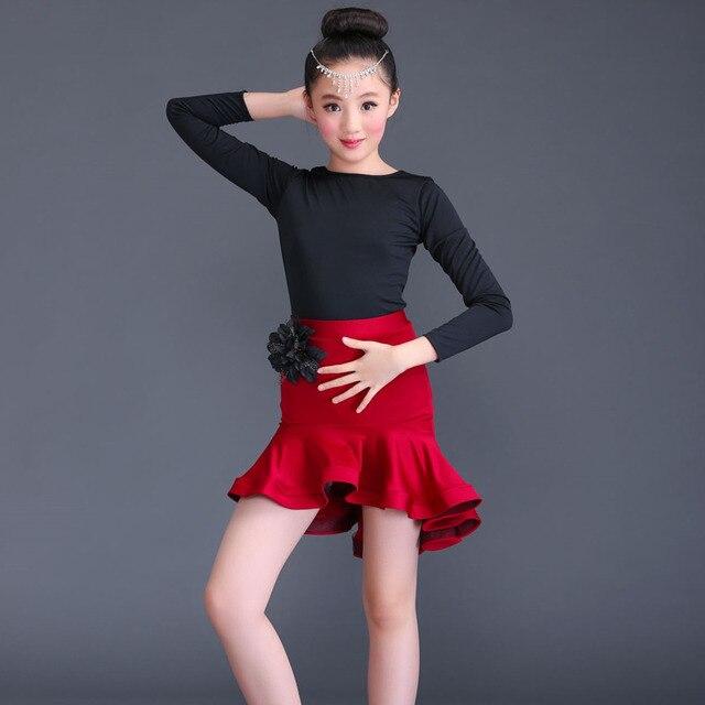c56de7680404 Kids professional latin dance dress for girls flamengo skirt Ballroom Dance  Wear Salsa Tango Rumba Samba Costume ruffle children