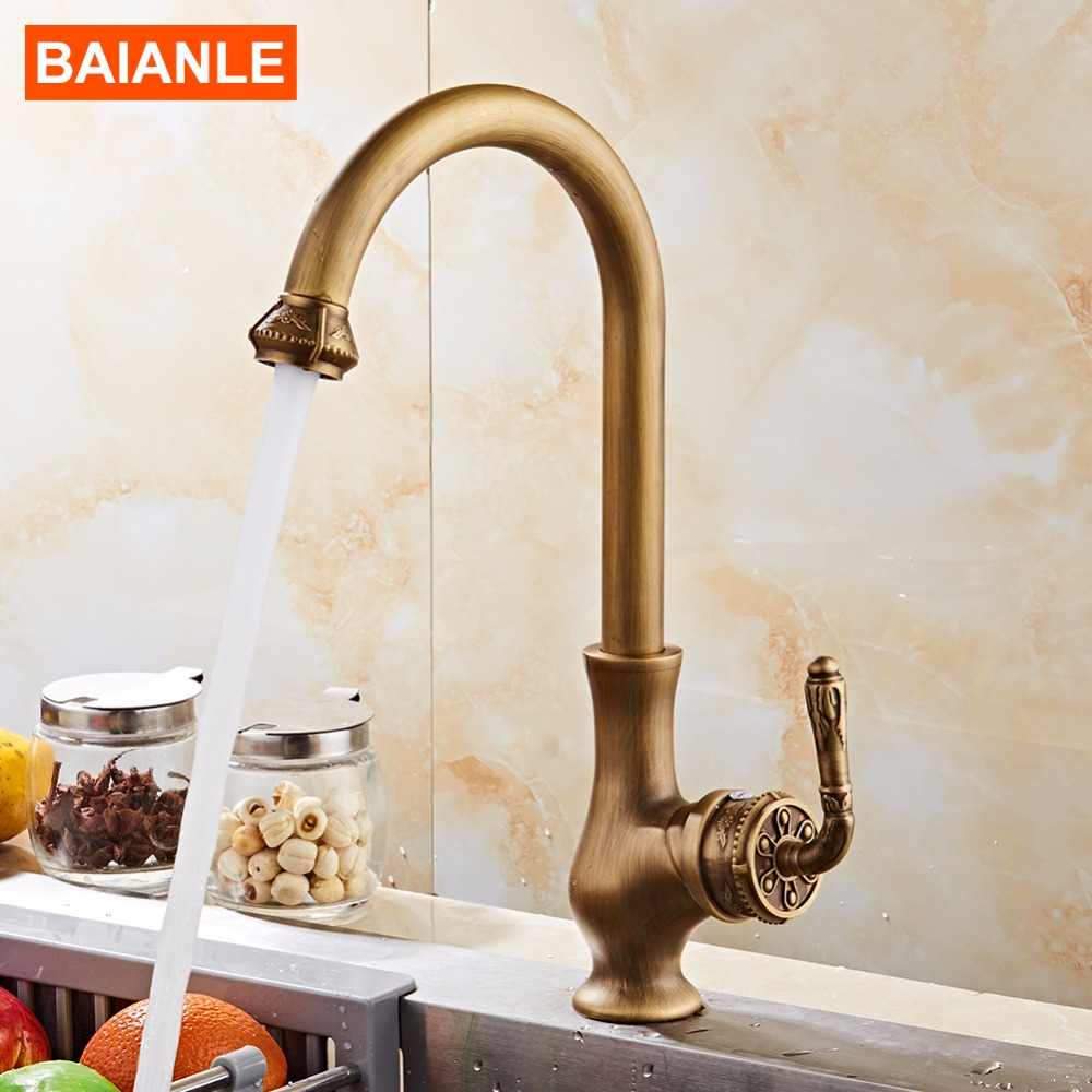 Free Shipping Antique Bronze Finish Kitchen Faucets Bathroom Tap Mixer Single Hand Hot And Cold Wash
