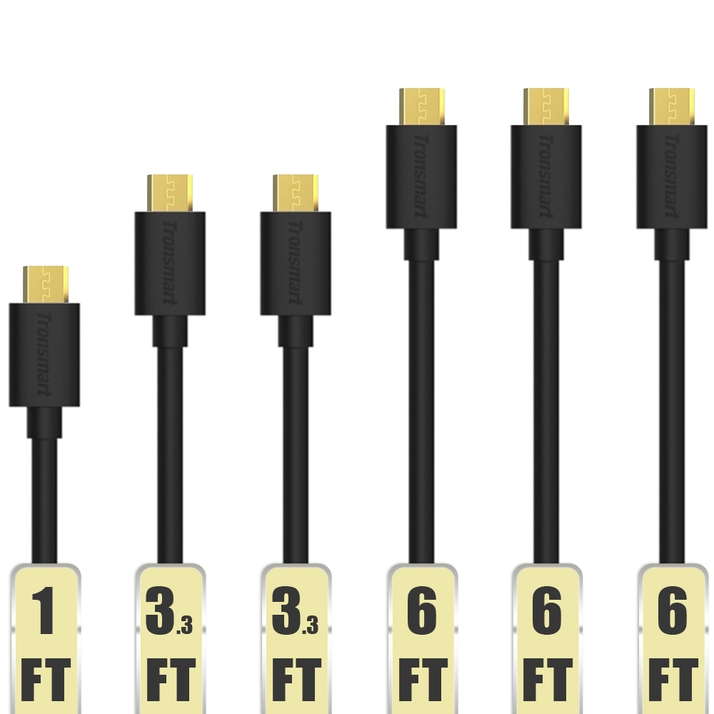 Micro USB Cable Tronsmart 6 Pack 20AWG Durable Charging Cable for Samsung Nexus LG Motorola 1ft
