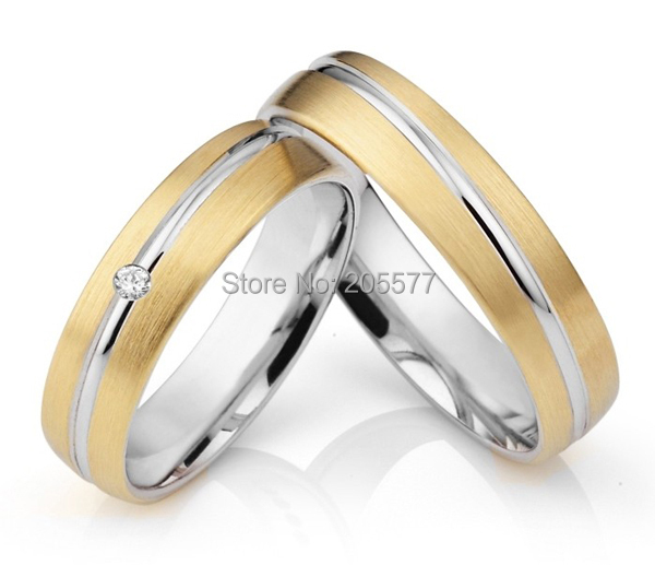 Bicolor Handmade titanium wedding bands engagement lovers Rings Pair Gold Plating for couples 2014 latest yellow gold plating bicolor titanium engagement wedding rings designs for men and women anillos gold plating