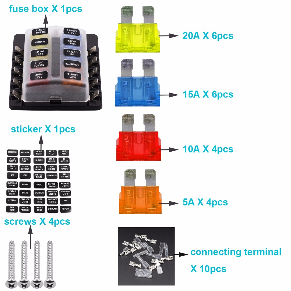 bluefire 10 way blade fuse box waterproof automotive fuse block with protection cover and [ 1000 x 1000 Pixel ]