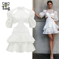 Tingfly 2019 Runway Designer Sexy Hollow Out Mini Dress Women Elegant Ruffles Short Party Dresses White Lace Vestidos Fashion