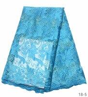 2019 Горячая продажа небесно-голубое вышитое Африканское кружево ткань высокого качества французская сетка гипюровая кружевная ткань 18