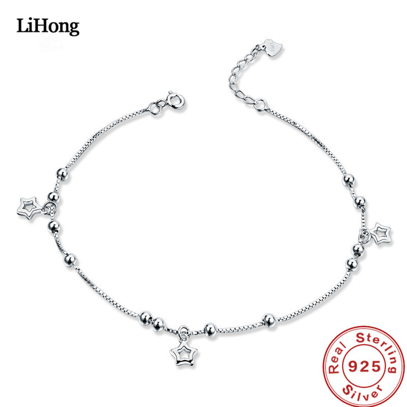 New 925 Silver Anklet Woman Miki Pendant 100% Sterling Summer Fashion Jewelry