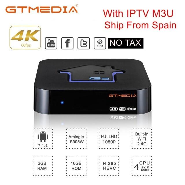 GTmedia G2 Tv Box Decoder 2GB RAM 16GB ROM S905W Android 7.1 DRM Widevine L1 4K HD 2.4G Built In Wifi Set Top Box IPTV Netflix