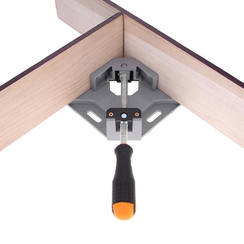 En aluminium Unique Poignée 90 Degrés Angle Droit Clamp Angle Pince À Bois Cadre Clip Dossier À Angle Droit Outil