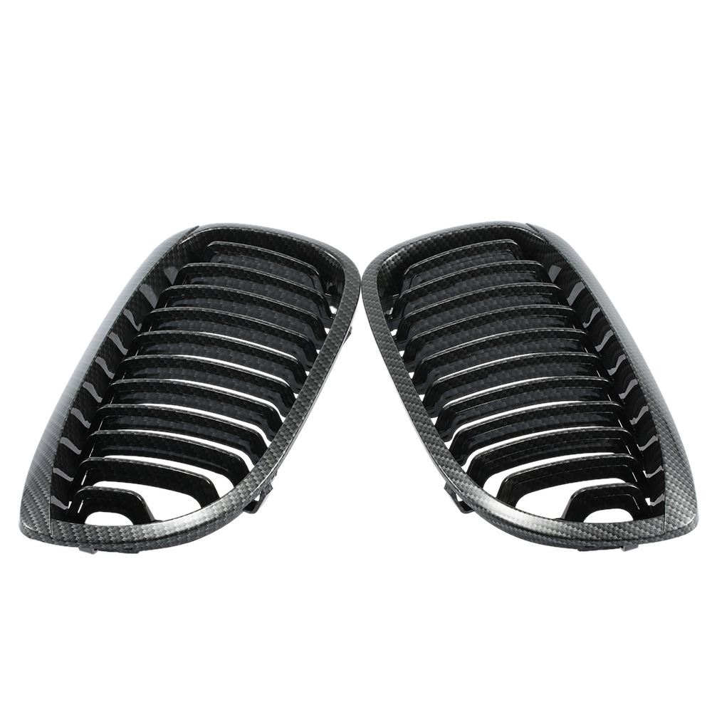 One Pair of Car Front Kidney Grille Carbon Fiber Grilles for BMW E46 2 Door 2002-2007 2016 new a pair front grilles left and right double line grille gloss black front grills for bmw 3 series e46 2002 2004 4 door