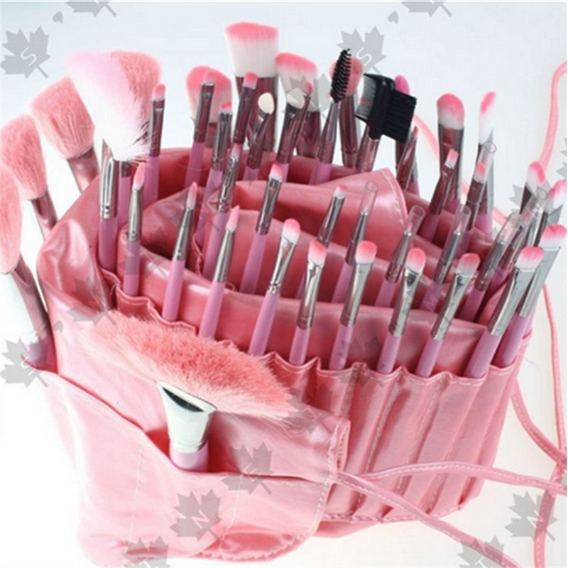ISMINE Clean Stock 48 PCS/set Professional Pink Cosmetic All Nylon Makeup Brushes Set Kit Roll Up Pouch brush Cosmetics Tools kitpag02363pag82027 value kit procter amp gamble professional floor and all purpose cleaner pag02363 and mr clean magic eraser foam pad pag82027