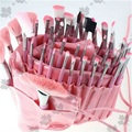 ISMINE Clean Stock 48 PCS/set Professional Pink Cosmetic All Nylon Makeup Brushes Set Kit Roll Up Pouch brush Cosmetics Tools