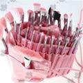 ISMINE Clean Stock 48 Unids/set Profesional de Cosméticos de Color Rosa Todo Nylon cepillo Cosméticos Herramientas de Maquillaje Pinceles Set Kit Roll Up Pouch