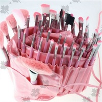 ISMINE Clean Stock 48 PCS Set Professional Pink Cosmetic All Nylon Makeup Brushes Set Kit Roll