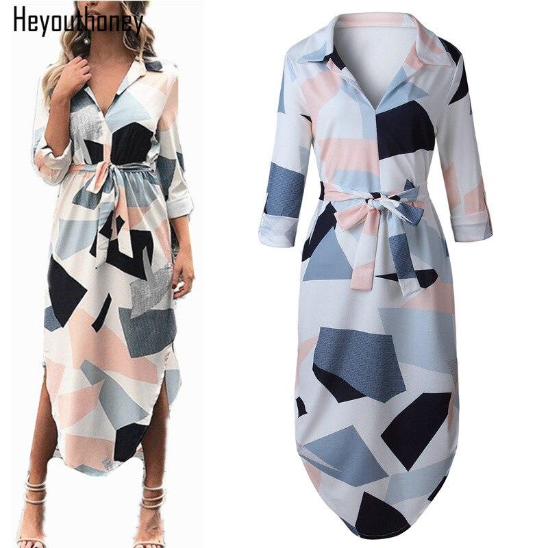 Heyouthoney Elegant Women Autumn Dress V Neck Beach Tunic Long Dresses Geometric Color Block Print Sexy